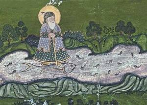 primordiální Mistr Al Chidr plovoucí na rybě, emblematickým symbolem a astrologickým znamením zlatého věku