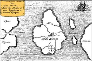 Atlantida podle Athanasia Kirchnera (1669)