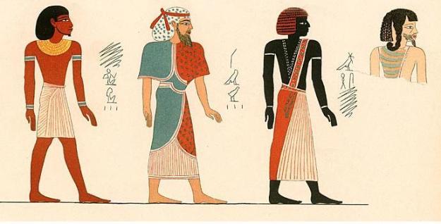 tradiční učení rozlišuje čtyři lidské rasy odpovídající čtyřem lidským věkům – Egypťané se sami považovali za potomky rudé rasy
