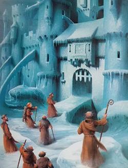 Brandan a jeho druzi objevují křišťálový palác; ilustrace z dětské obrázkové knihy Mýty a legendy amerického kontinentu
