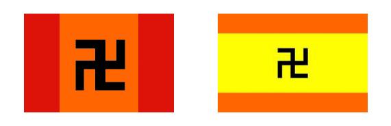 dvě podoby vlajky indiánského národa Kuna v Panamě