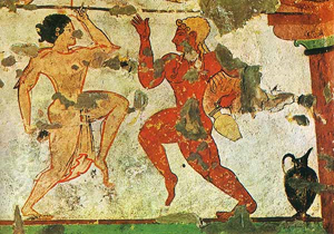 dva tanečníci – detail z etruské hrobky v Leonesse, Tarquinia